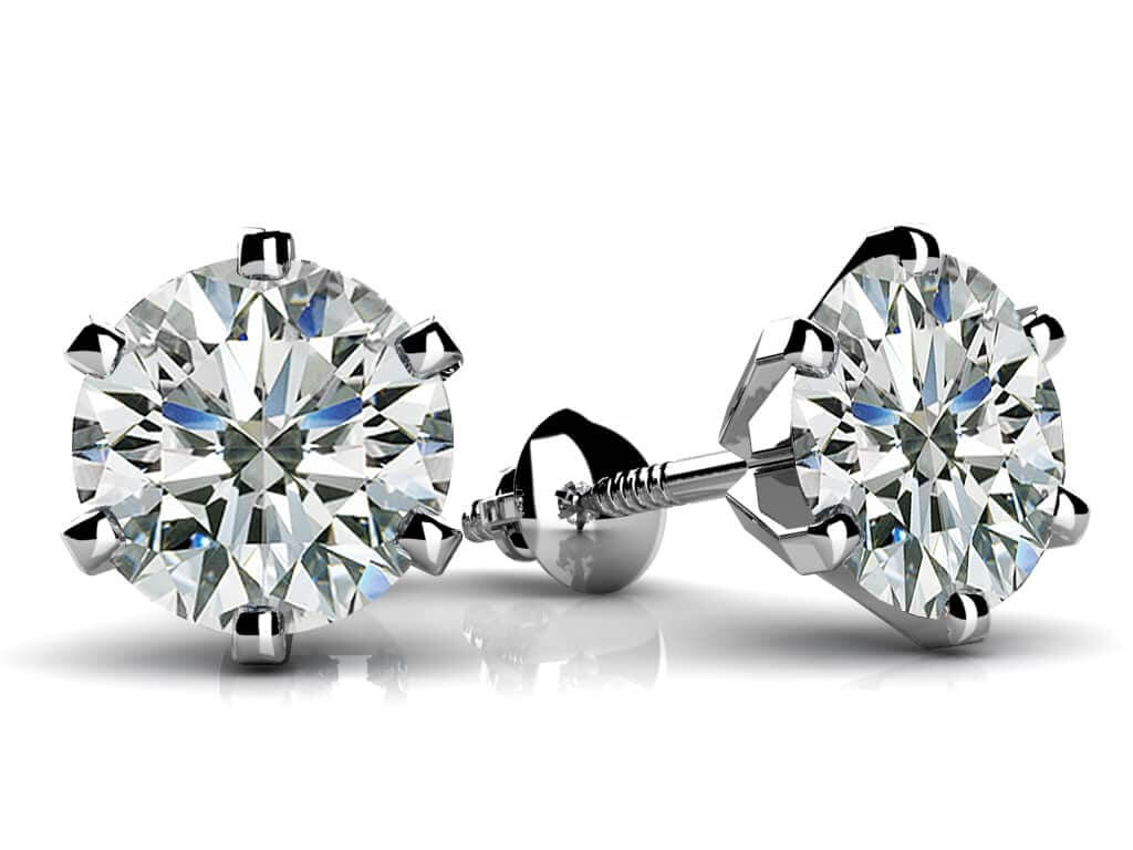 gold round prong h diamond earrings i white stud ctw basket in carat tw