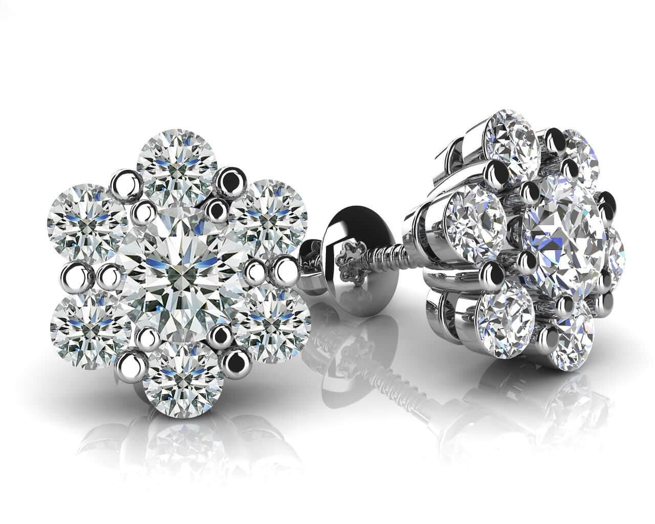 Flower Shaped Diamond Cluster Stud Earrings