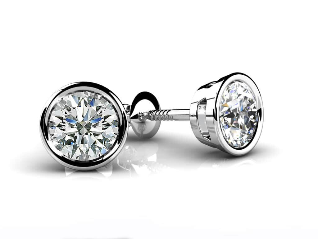 set ct earrings inspirational cut bezel of round diamond stud