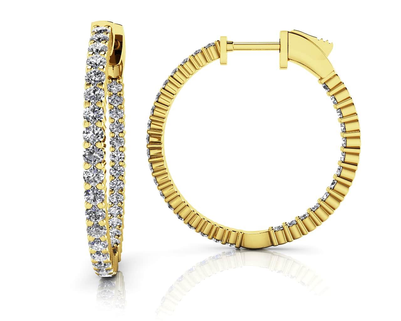 41dff55781f6 Single Row Inside Out Diamond Hoop Earring Small