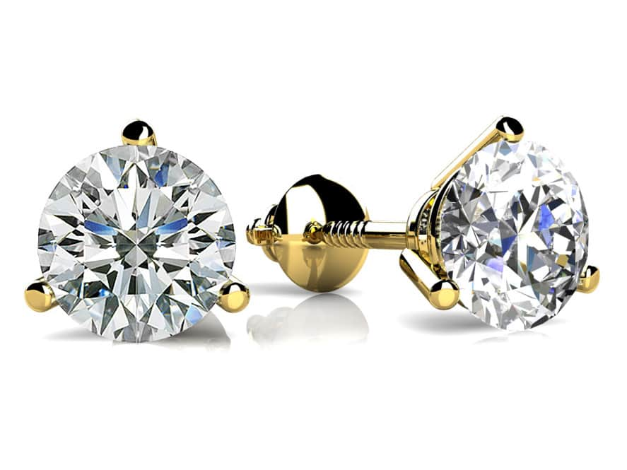 89c5e36bc7b6d2 Classic Three Prong Diamond Studs In Rose Gold White Yellow Gold Or Platinum