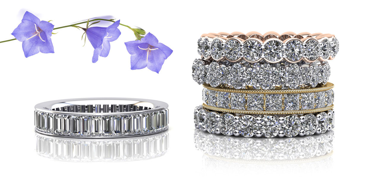bcdea942203e67 All eternity rings are available in 14K or 18K white, yellow or rose gold,  or Platinum.