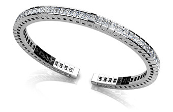 Princess Cut Flexible Diamond Bangle Bracelet
