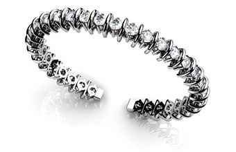 Two Prong Flexible Diamond Bangle