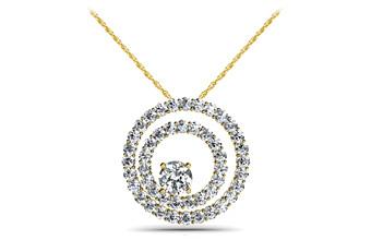 Off Center Diamond Circle Pendant