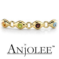 Colored Stone Circle Link Bracelet