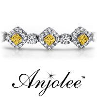 Princess Cut Gemstone and Diamond Bracelet