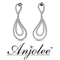 Curvy Teardrop Diamond Drop Earrings