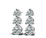 3-Stone Diamond Earrings